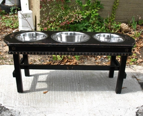 15% Off On Sale Now - Elevated Dog Feeder - Black Distressed Shabby Chic Feeder 3 And 5 Quart Stainless Bowls