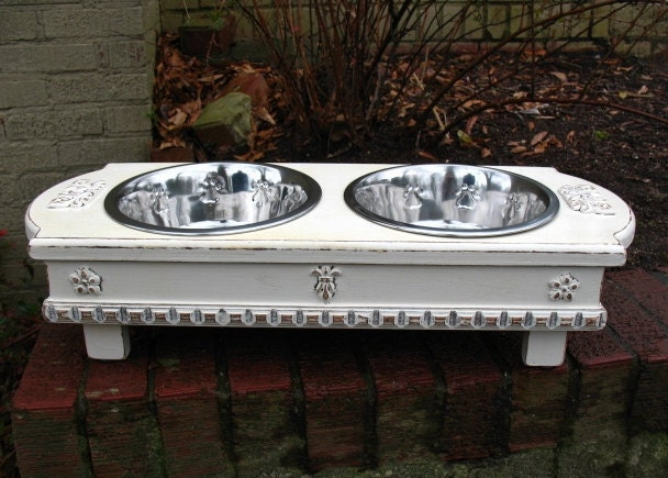Antique white cottage chic elevated cat or dog pet feeder 2 for Shabby chic dog