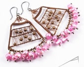 Pink pearls earrings - copper wire wrapped artisan jewelry