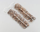 Unique metalwork earrings - copper and silver wirework