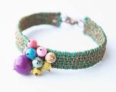 Fabric colorful bracelet - wire wrapped silk folk jewelry