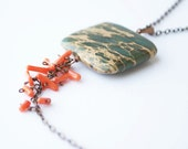 Green red necklace - jasper coral and copper