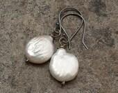 Biwa pearls earrings - white drops and oxidized silver