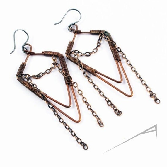Unique copper earrings - wire wrapped jewelry