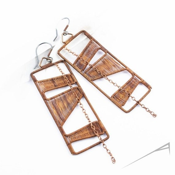 Geometric copper earrings - wire wrapped artisan jewelry