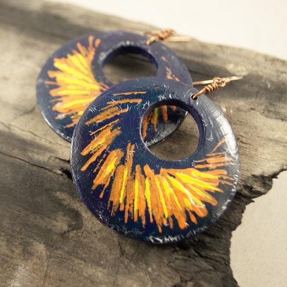 Hand painted earrings - wooden hoops