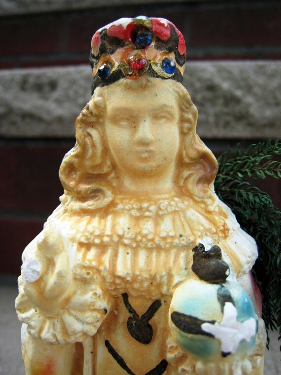 Glass Domed Chalk Infant of Prague Glowing Statue