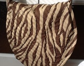 Brown Zebra Print Hand Beaded Messenger Bag Purse
