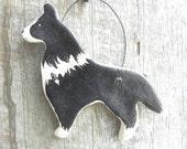 Border Collie Dog Salt Dough Xmas or Kitchen Ornament