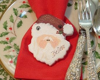 Santa Napkin Rings Party Favors Set of Six (6) Salt Dough Ornaments