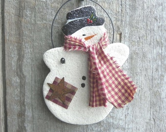 Snowman Salt Dough Christmas Ornament / Stocking Stuffer / Party Favor