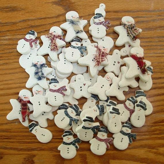 Wholesale Snowmen Supplies Group of fifty (50) Mini Snowman Salt Dough Ornaments
