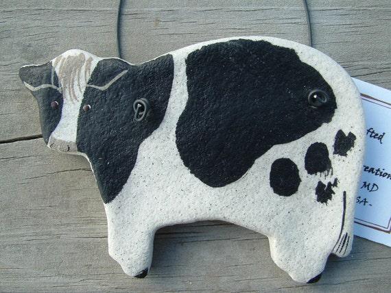 Cow ornament kitchen decor salt dough - Kitchen cow theme ...