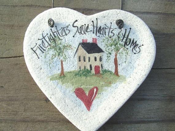 Fireman Ornament Salt Dough Firefighter Thank You / Appreciation Heart Ornament