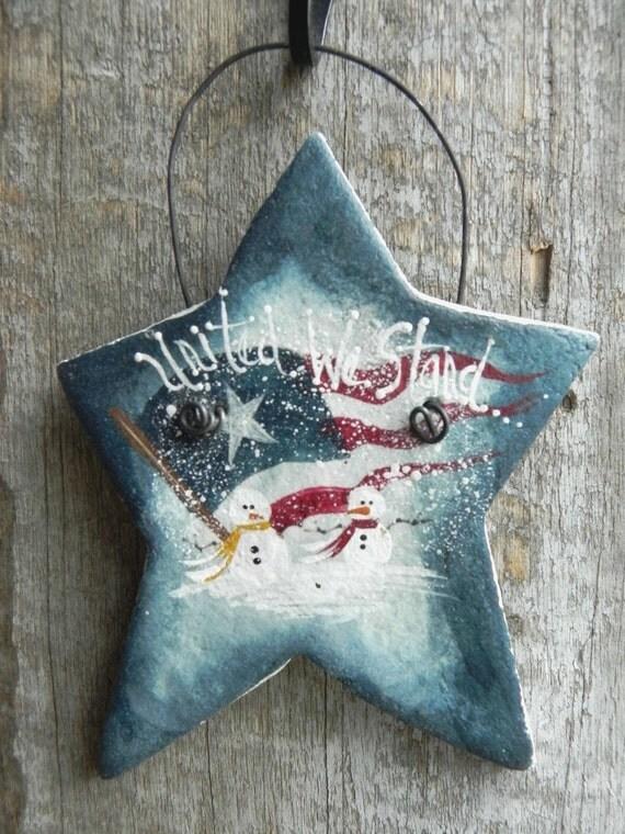 SALE Patriotic Snowman Salt Dough Christmas Ornament OOAK