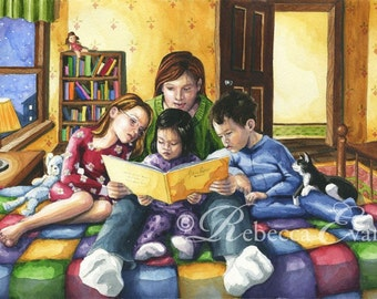 Bedtime Story - Art Print of Mother Reading to Children 8.5x11