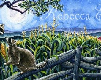 Illustration Art Print of Raccoons at Night on Farm 8.5x11