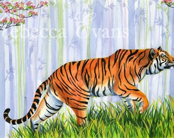 Illustration Art Print of Tiger and Child in Forest 8.5x11