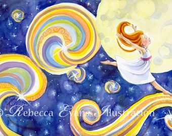 Art Print of Girl Dancing with the Stars 8.5x11