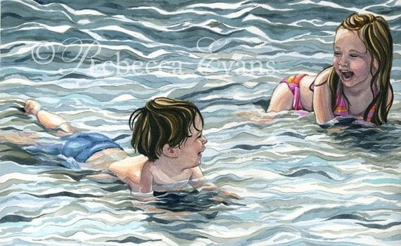 Illustration Art Print of Boy and Girl Playing in Ocean 8.5x11