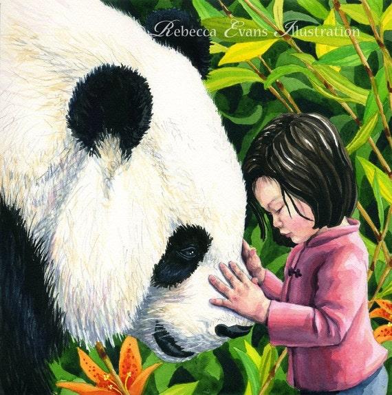 Illustration Art Print of Giant Panda and Girl13x19