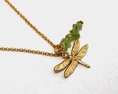 Gold & Green Dragonfly Pendant Necklace