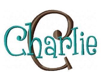 INSTANT DOWNLOAD -- Machine Embroidery Font Charlie -- Monogram Alphabet Design