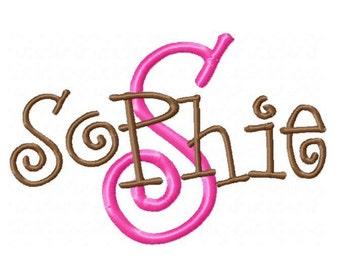 INSTANT DOWNLOAD - Sophie Machine Embroidery Font  - Monogram Alphabet Design