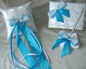 3 Pieces Set Wedding Guest Book, Pen Set Holder and Ring Bearer Pillow Wedding Accessories Custom Made to your Colors