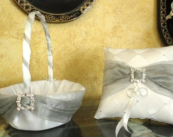 Flower Girl Basket & Ring Bearer Pillow, Wedding Basket, Ring Pillow, Swarovski Crystals, Wedding Pillow, Custom Made, Custom Order