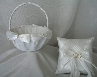 Flower Girl Basket & Ring Bearer Pillow Set, Satin Bows, Pearls, Swarovski Crystals, Wedding Custom Made