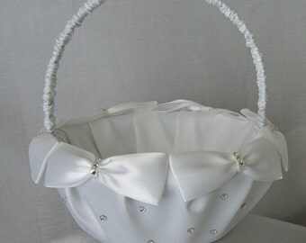Wedding Flower Girl Basket Custom Made to your Colors with Bows, Pearls, Swarovski Crystals