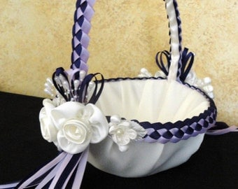 Wedding Flower Girl Basket, Dark Purple, Lavender & Ivory or Custom Made to your colors with Flowers and Pearls