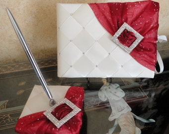 Guest Book, Wedding, Signature Book, Signing Pen, Ivory, Apple Red, Swarovski Crystals, Elegant, Custom Made to Order