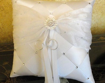 Wedding Ring Bearer Pillow, White or Custom Made to your Colors with Swarovski Crystals and Flower
