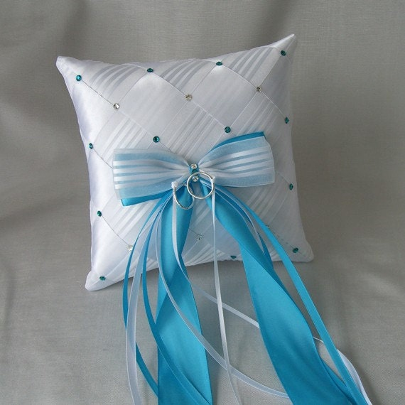 Wedding Ring Bearer Pillow,  Ribbon Weave with Swarovski Crystals, Custom Made to your colors