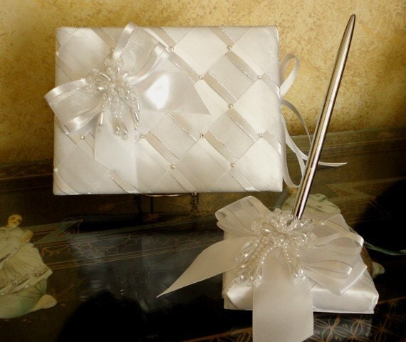 Personalize Elegant Wedding Guest Book and Pen Set with Swarovski Crystals & Pearls - Custom Made to Order