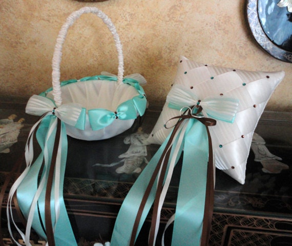 Flower Girl Basket & Ring Bearer Pillow Set, Ivory, Aqua, Brown or Custom made to your Colors with Bows, Pearls, Swarovski Crystals