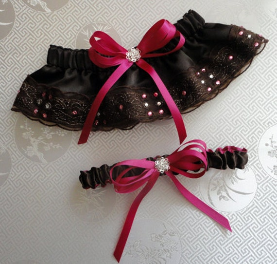 Brown and Fuchsia or Custom Made to your Colors Bridal Garter Set, 1 to Keep 1 to Toss with Swarovski Flowers and Crystals