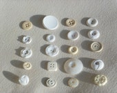 Collection of White Shabby Chic Vintage Buttons