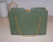 Beautiful Green Snake Skin Embossed Vintage Purse with Gold Clasp and Chain