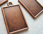 Copper Rectangular Frames for Pendants Tibetan Silver (4) BC1