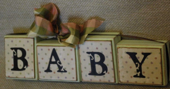 Shelf Sitter Shabby Chic Wood Blocks  BABY  tied up with ribbon and bow  Blocks are loose and can be stacked