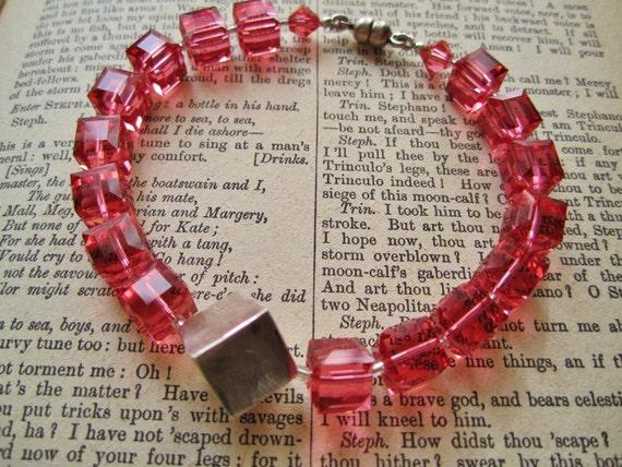 Swarovski Bracelet ./. Coral Red Bracelet ./.  Coral Red Cubes ./. Elegant Bracelet ./. Classic Design ./. Light Red bracelet ./. Cubes
