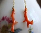 Vintage Coral Branch & Gold Mermaid Earrings
