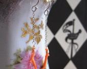Vintage Coral Branch & Silver Mermaid Earrings