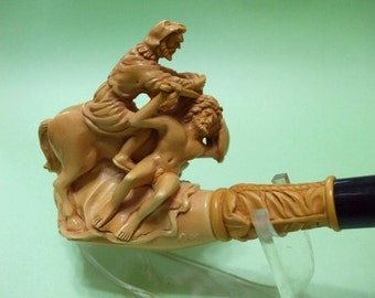 Warrior Slave Horse Lion Dog  Pipe Meerschaum Pipe H Cor  w Case Stand Pouch Fathers' Day