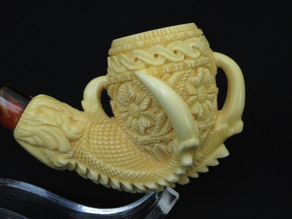 Eagle Claw & Floral Egg Meerschaum Pipe écume de mer Schiuma di Mare Hand Carved Tobacco Smoking Pipes