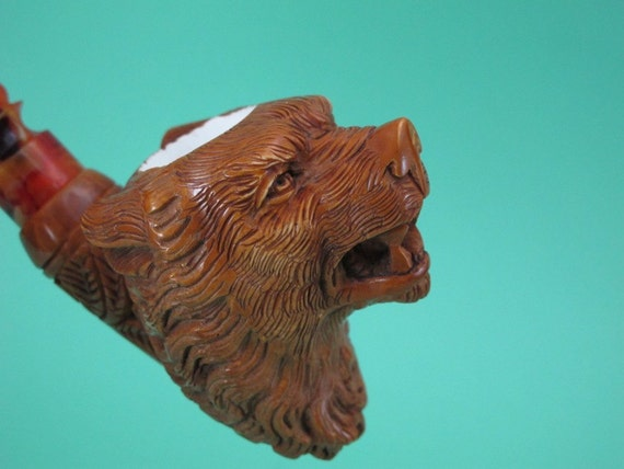 Red Brown Grizzly Bear Meerschaum Pipe écume de Mer Pipa in Schiuma di Mare Gift w Case Stand Pouch