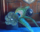 Gorgeous Green and Blue Art Deco Inspired French Beaded Flower and Peacock Feather Hair Piece